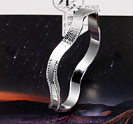 Minimalist fashion wave bend one thousand fine silver bracelet opening