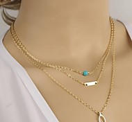 Rectangular sequin multilayer Necklace women Fashion Jewelry