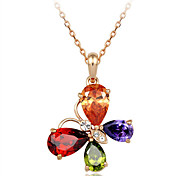 T&C Women's Exquisite Jewelry 18K Rose Gold Plated Shining Colourful Crystal Butterfly Pendant Necklace