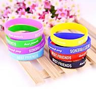 Pop Colored Rubber Bracelet Alphabet Wrist Bands Bracelet