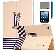 lexy® nunca crecen caso del soporte del patrón de la PU del tirón del cuero con protector de pantalla y el stylus para ipad Mini 1/2/3