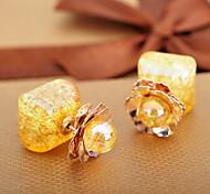 New Design For 2015 Summer Style Double Side Pearl Earrings Gold Plated Alloy Flower Pendant Earrings For Women E767