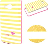 2-in-1 Yellow White Lattice Pattern TPU Back Cover + PC Bumper Shockproof Soft Case For Samsung G530H