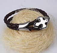 Men's Cross Leather Wrap Bracelet