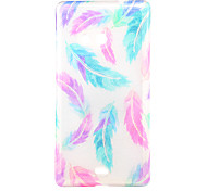 Bright Feathers Pattern Glitter Powder TPU Soft Back Cover for Nokia N535