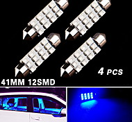 4X Festoon 41mm 42mm 12-SMD Ultra Blue 211 212-2 Interior Dome Map Trunk Light