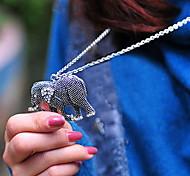 Vintage Carving Diamond Elephant Pendant Long Necklace