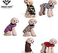 Katzen / Hunde Mäntel / T-shirt / Weste Rot / Weiss / Grün / Braun / Rosa / Gold Winter Leopard / camuflajeLeopardenmuster / Zebra /