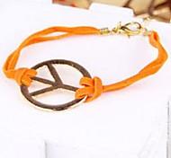 Fashion Jewelry Antiwar Orange Leather Cord Wide Bracelet