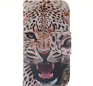 motif léopard cuir PU cas de tout le corps avec fente pour carte et d'éligibilité aux samsung galaxy J1