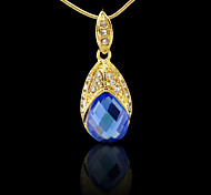 18K Real Gold Plated Heart Of The Ocean Blue Zircon Pendant Necklace