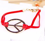 Women Fashion Red Leather Cord Bangle Wide Bracelet Jewelry