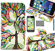 LEXY® Art Color Tree Pattern PU Full Body Leather Case with Screen Protector and Stylus for iPhone 5C