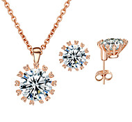 T&C Women's Elegant Gift 18k Rose Gold Plated Top Cubic Zirconia Stone Pendant Necklace and Earrings Set