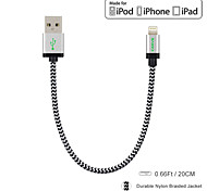 carve mfi 0.6ft / 20cm nylon bliksem naar USB data kabel voor Apple iPhone 6 / 6s / 5 / 5s / 6 plus / ipad mini
