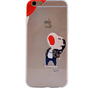 Eating Apple Pattern TPU Material Soft Phone Case for iPhone 6/6S