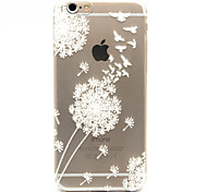 White Dandelion Pattern TPU Relief Back Cover Case for iPhone 6s 6 Plus