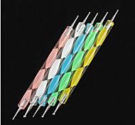 5pcs 2-vie di arte del chiodo punteggiano onde colorate maneggiare strumenti puntino kit