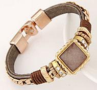 European Style Fashion Trend Metal Square Stones Magnet Metal Chain Bracelet