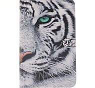 weiße Tiger-Design PU-Leder Ganzkörper-Fall mit Standplatz und Kartensteckplatz für Galaxy Tab e 9.6 T560