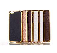 caso de cuero línea fdge de metal del grano de fútbol de la contraportada para el iphone 6 más (color clasificado)