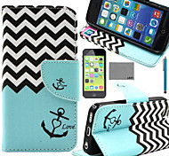 LEXY® Wave Anchor Pattern PU Full Body Leather Case with Screen Protector and Stylus for iPhone 5C