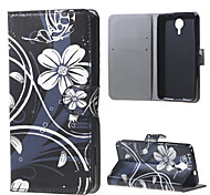 White Flowers Wallet Leather Stand Case for BLU Life X8