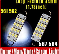 "2 PCS 44mm 12-SMD Rigid Loop White Festoon 1.73"" LED Light Bulbs 561 562 567 564"