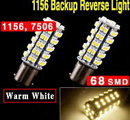 2 X Warm White Car RV Trailer 1156 BA15S LED 68-SMD Light bulbs Tail Backup 1141