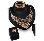 May Polly  The new European exaggerated Diamond Necklace Earrings Ring Bracelet Set