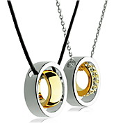 European Style Fashion Drill Gold Plating Bicyclo- Lovers Alloy Necklace (2 Pcs A Set)