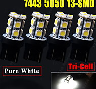 4x Xenon White T20 7443 5050 13-SMD - Tail Brake Stop Parking Light Bulb 7444NA