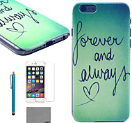 LEXY® Green Word Pattern Hard PC Back Case with 9H Glass Screen Protector and Stylus for iPhone 5/5S