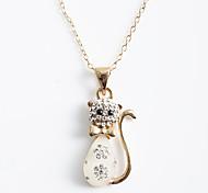 Korean Fashion  Crystal Kitty Pendant  Alloy Necklace