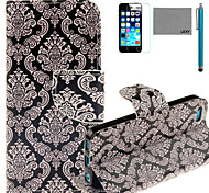 LEXY® Old-Fashion Pattern PU Full Body Leather Case with Screen Protector and Stylus for iPhone 5C