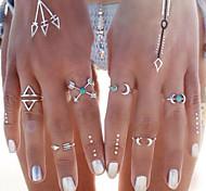 HUALUO®Bohemian Imitation Silver Geometric Retro Fashion Arrowheads Ring Set