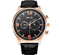 Fashion Men's Leather Band Quartz Wristwatch
