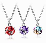 Fashion Love Cube Alloy Pendant Necklace(More Color) (1 Pc)