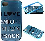 2-in-1 ritorno al tpu modello Luna back cover + del pc del paraurti custodia morbida antiurto per il iphone 4 / 4s