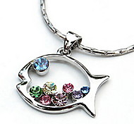New Lovely Colored Diamond Fish-Shaped Pendant Necklace