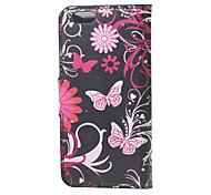fleurs papillons étui en cuir flip pour iphone 6 / 6s