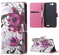 fleurs violettes en cuir magnétique cas de couverture de livre portefeuille de sac à main pour Huawei Ascend bascule g7
