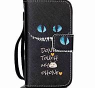 motif de chat noir en cuir PU carte flip cas de téléphone pour iPhone 4 / 4S