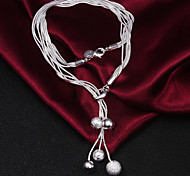 Hot Sale 925 Silver Light bead Statement Party Necklaces For Woman&Lady