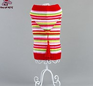 Cat / Dog Coat / Sweater / Hoodie Red Winter Stripe Wedding / Cosplay / Christmas / Holiday / New Year's