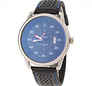 Men's Racing Sport Design Leather Band Quartz Watch
