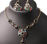 National Retro Exaggerated Necklace +Drop Earring Sets(3pcs)