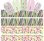 1pcs Line Design Fluorescent Color 3 d Nail Stickers
