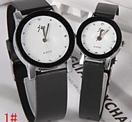 Disc Korean Fashion Belt Couple Watch Diamond Dial (Pairs)