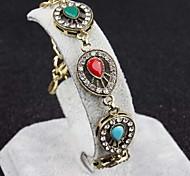 Heart-shaped Hollow Diamond Multicolor Gemstone Bracelet